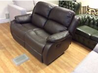 Anton Reclining Brown Leather 2 Seat Sofa - Ex Display - £199 Including Free Local Delivery