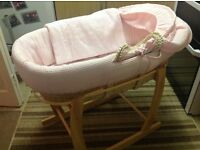 Pink baby Moses Basket and Stand.