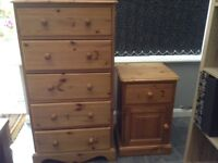 Solid pine chest of drawers and bedside table