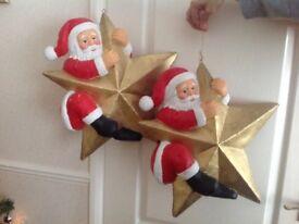2 x large hanging Santa's