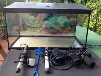Glass fish tank with assessories