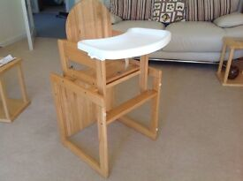 High chair which converts to a little desk
