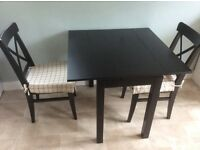 Black, IKEA kitchen table and chairs