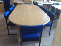 Large Beech Rectangle Conferrence Table & Eight Chairs
