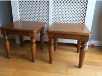 2 small pine side tables