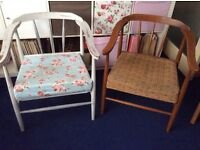 Pair of matching 50s/ 60s style bedroom chairs. Real wood. Unfinished upcycling project