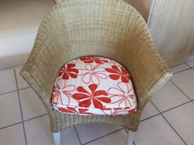 Wicker small round table and 2 chairs