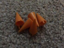 Scalextric Vintage Trackside Cones - 5 x Yellow, broken pins.