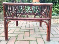 STAINED SQUARE CONSERVATORY STYLE TABLE ANGRAVES MAKE WICKER / CANE STYLE SMOKED GLASS TOP