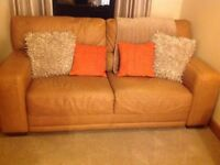 Tan leather 3 piece sofa suite