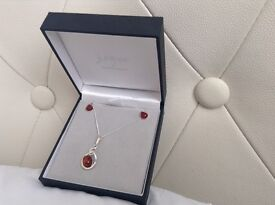 925 silver and amber earring and necklace set