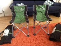 Two kids folding camping chairs with bags