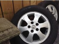 """15"""" Vauxhall alloys and tyres x 4 (5 stud)"""