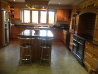 complete solid oak kitchen with fridge and cooker