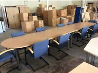 Beech Rectangle Conferrence Table & 10 Chairs