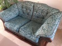 Two seater, two arm chairs with foot stool, 4 Matching cushions green,VG con. can deliver local,