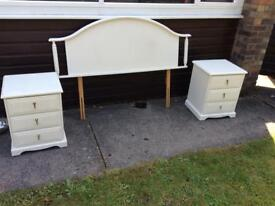 Two bedside cabinets and matching headboard