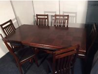Solid Hardwood Dark Oak Extending Dining Table and Choice of 6 Chairs