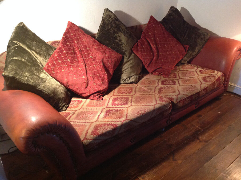 Leather Amp Fabric Tetrad Eastwood Large 2 3 Seater Settee