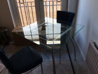 Glass square kitchen table
