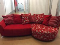 DFS LARGE RED PATTERN FABRIC SOFAS WITH CHAISE LIKE NEW - MUST GO ASAP - CHEAP DELIVERY -£285