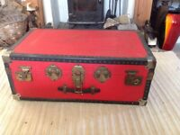 Vintage Red Overpond Luggage Shipping Steamer Trunk Coffee Table Blanket Box