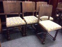 Set of 6 oak barley twist chairs & table