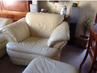 Leather Two Seater Sofa, Armchair and Footstool in pale yellow