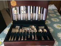 FINAL REDUCTION 84 piece silver plate Butler of Sheffield Heirloom cutlery canteen Dubarry design
