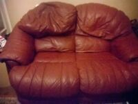 leather sofa + 2 Chairs footstall