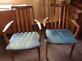 2x G Plan teak dining carver chairs with blue padded seats