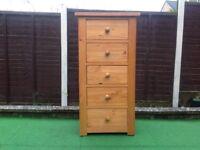 Pine chest 5 drawer TALLBOY