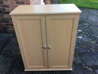 Light Oak Storage Cabinet With Shelf. 87cmH 70cmW 35cmD