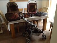 Mama's & Papa's Switch - brown check travel system & isofix base