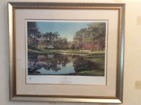 Golf artists proof print, framed, signed, Kenneth Reed, Augusta