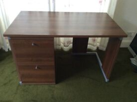 Desk and matching filing cabinet, walnut veneer excellent condition and under half price