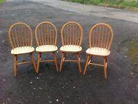 Set of four pine pining chairs