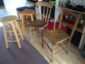 Two chairs and two stools