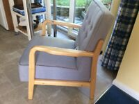 Armchair grey with wooden arms