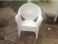 Newly Annie Sloane White Chalk Painted Wicker Chair
