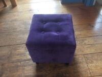 Purple fabric cushion stool