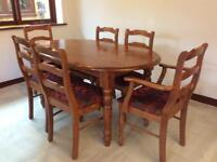 Stained Pine Kitchen table and 6 chairs