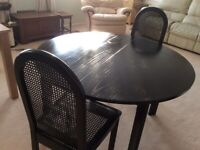 Black Extending Table plus 2 chairs