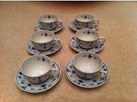 Furnivals Demark Blue Vintage set of 6 cups & saucers