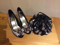 Beautiful matching heeled shoes - size 6 with unusual stylish shoulder bag - only £10!