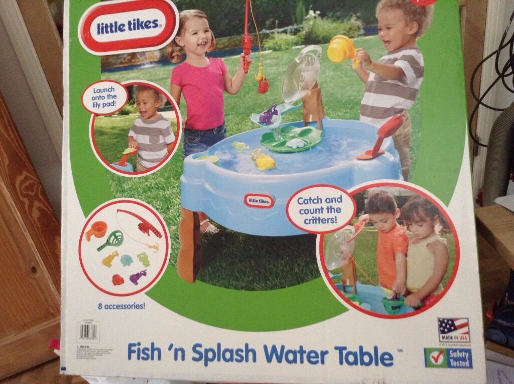 Little Tikes Fish n Splash Water Table Children, s Outdoor/Indoor fun New and Boxedin Bassaleg, NewportGumtree - Little Tikes Fish n Splash Water Table. New and Boxed. There's nothing like a day of fishing. Now your little fishermen and women can have so much fun catching and counting colourful little pond swimmers right in their own garden as Fish n'...