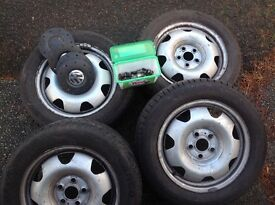 "Vw T5 Transporter 17"" Steel Wheels x 4 With Bolts & Locknuts"