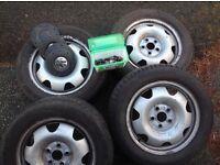 "Vw T5 Transporter 17"" Steel Wheels x 4 With Bolts & Locknuts"