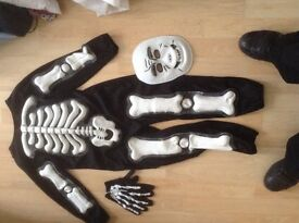 Halloween skeletons costume mask & gloves 5-6