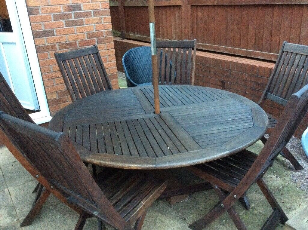 Wooden garden table with 6 chairs | in Uttoxeter ...
